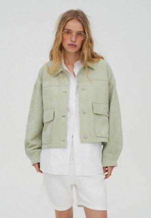 Куртка кожаная Pull&Bear. Цвет: зеленый