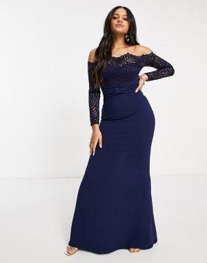 Темно-синее платье макси с кружевной отделкой, вырезом лодочкой и юбкой годе -Темно-синий Goddiva