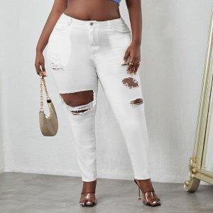 Рваные джинсы-скинни размера плюс SHEIN. Цвет: белый