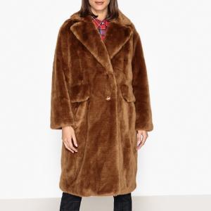 Пальто длинное с отделкой под мех REMIRE ESSENTIEL ANTWERP. Цвет: каштановый