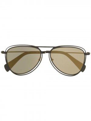 Солнцезащитные очки-авиаторы Yohji Yamamoto. Цвет: черный
