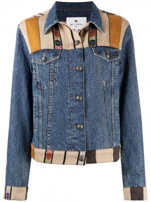 Джинсовая куртка в технике пэчворк Etro. Цвет: синий